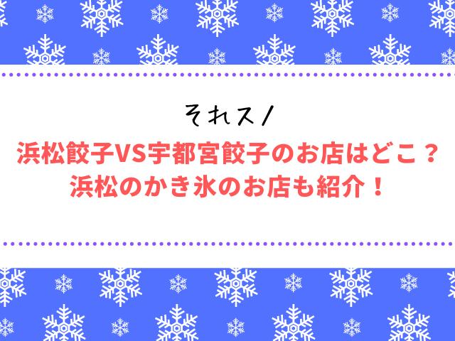 それスノ浜松餃子VS宇都宮餃子のお店はどこ?浜松のかき氷のお店も紹介!